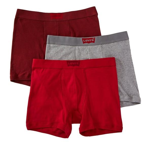 Red-Black-Gray Men Levi/'s 4-Pack Boxer Brief 100/% Combed Cotton Underwear